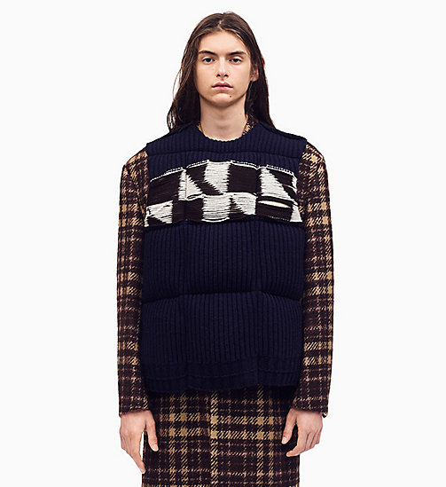 205W39NYC Quilted Jacquard Knit Down Padded Jumper - BROWN NAVY MARRON GLACE OFF WHITE - 205W39NYC CLOTHES - main image