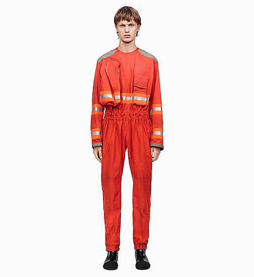 205W39NYC Distressed Fireman Jumpsuit - ORANGE RED - 205W39NYC CLOTHES - main image