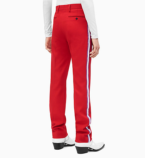 205W39NYC Straight Leg Marching Band Trousers - SCARLET ORCHID OPTIC WHITE - 205W39NYC CLOTHES - detail image 1