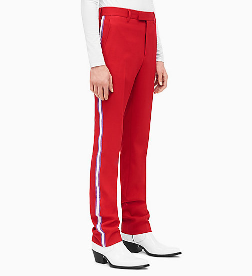 205W39NYC Straight Leg Marching Band Trousers - SCARLET ORCHID OPTIC WHITE - 205W39NYC CLOTHES - main image