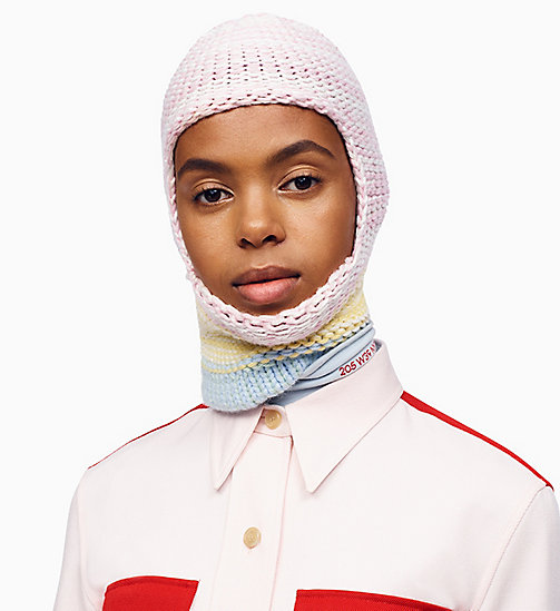 205W39NYC Colour Block Knit Balaclava - PINK WHITE YELLOW DAWN - 205W39NYC SHOES & ACCESSORIES - detail image 1