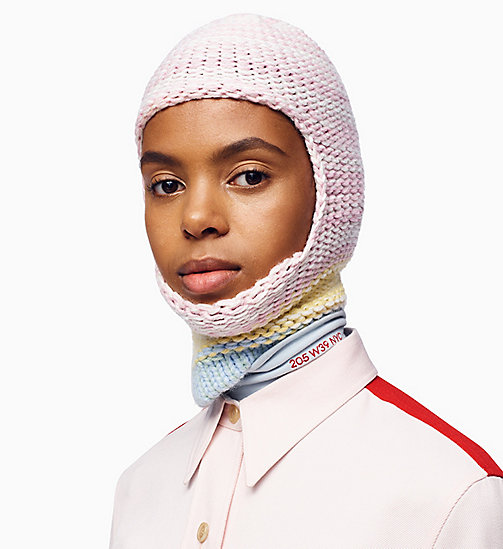 205W39NYC Colour Block Knit Balaclava - PINK WHITE YELLOW DAWN - 205W39NYC CLOTHES - main image