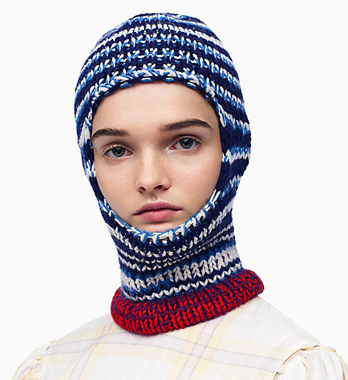 205W39NYC Reverse Striped Knit Balaclava - NAVY ROYAL BLUE OFF WHITE - 205W39NYC CLOTHES - detail image 1