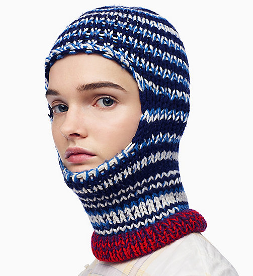 205W39NYC Reverse Striped Knit Balaclava - NAVY ROYAL BLUE OFF WHITE - 205W39NYC CLOTHES - main image