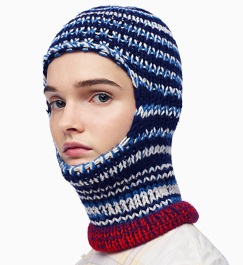 205W39NYC Reverse Striped Knit Balaclava - ORANGE RED OFF WHITE BURGUNDY ROYAL BLUE - 205W39NYC WOMEN - main image