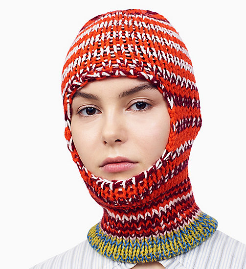 205W39NYC Reverse Striped Knit Balaclava - ORANGE RED OFF WHITE BURGUNDY ROYAL BLUE - 205W39NYC CLOTHES - detail image 1