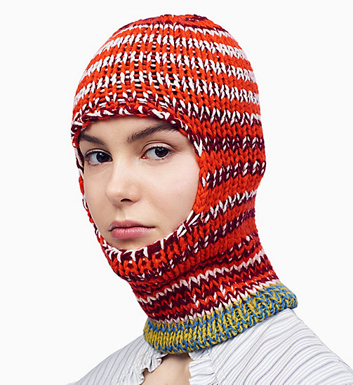 205W39NYC Reverse Striped Knit Balaclava - ORANGE RED OFF WHITE BURGUNDY ROYAL BLUE - 205W39NYC CLOTHES - main image