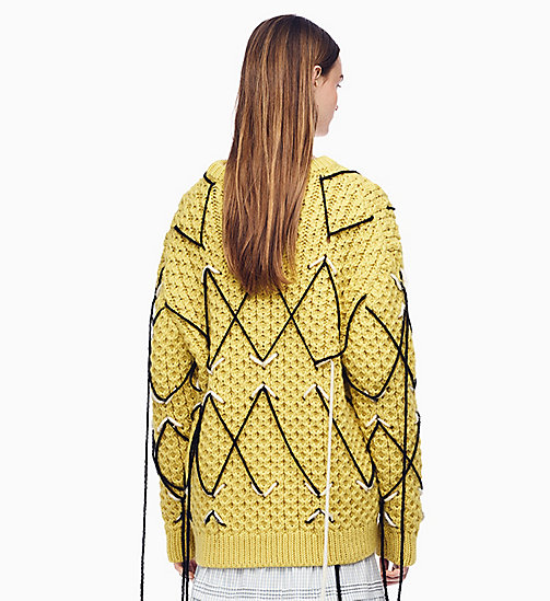 205W39NYC Embroidered Honeycomb Stitch Jumper - LIGHT YELLOW ECRU BLACK - 205W39NYC CLOTHES - detail image 1