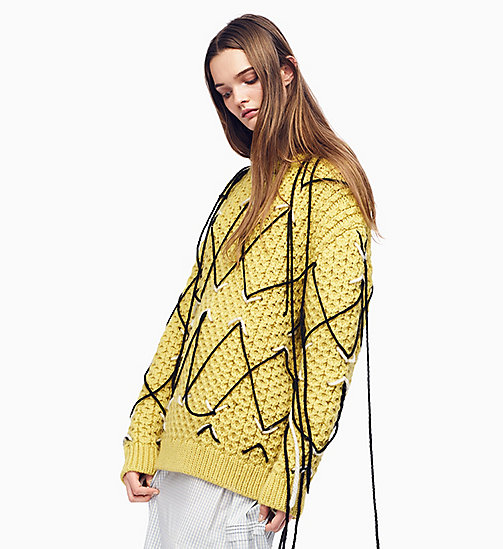 205W39NYC Embroidered Honeycomb Stitch Jumper - LIGHT YELLOW ECRU BLACK - 205W39NYC CLOTHES - main image