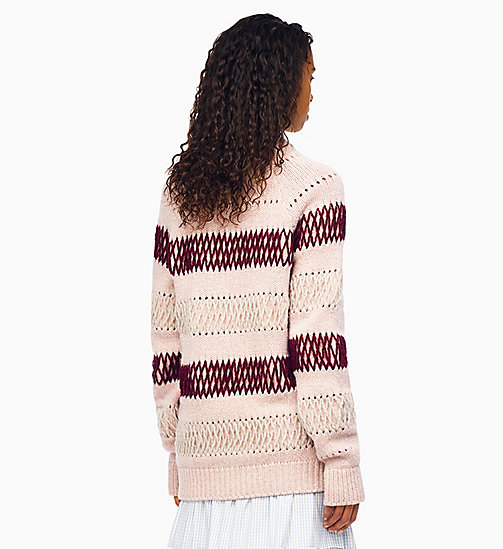 205W39NYC Embroidered Stripe Knit Jumper - PALE PINK BURGUNDY - 205W39NYC CLOTHES - detail image 1