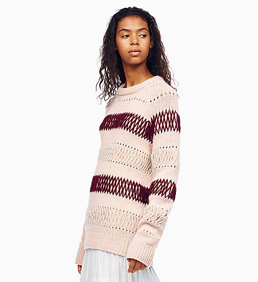 205W39NYC Embroidered Stripe Knit Jumper - PALE PINK BURGUNDY - 205W39NYC CLOTHES - main image