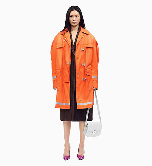205W39NYC Distressed Couture-Sleeve Fireman Coat - ORANGE - 205W39NYC CLOTHES - main image