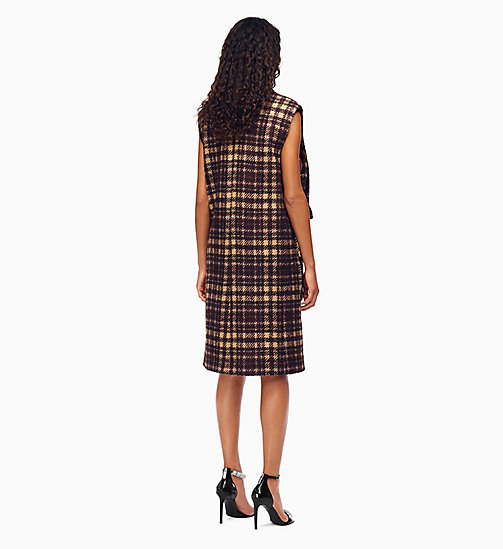 205W39NYC Oversized Sleeveless Coat in Glen Plaid - CHAMOIS DARK BROWN - 205W39NYC CLOTHES - detail image 1