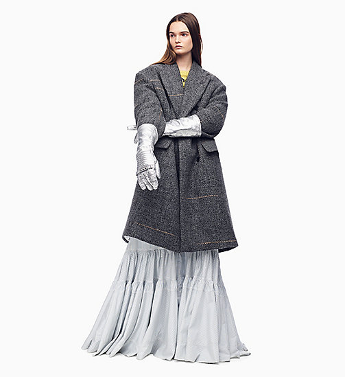 205W39NYC Zweireihiger Oversized-Mantel aus Tweed - LIGHT GREY SAND - 205W39NYC KLEIDUNG - main image