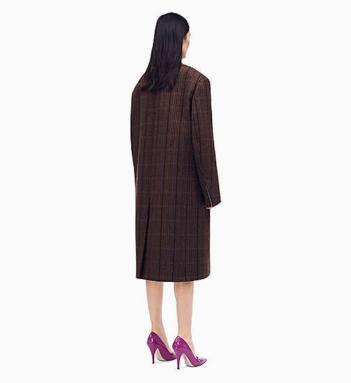 205W39NYC Oversized Boxy Coat in Vintage Wool - CHAMOIS MARRON BLACK - 205W39NYC CLOTHES - detail image 1