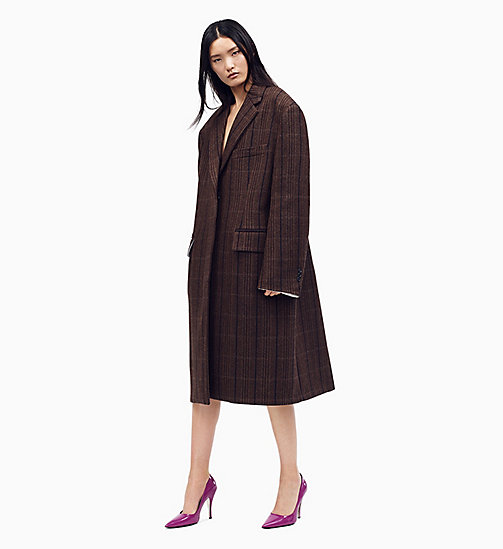 205W39NYC Oversized Boxy Coat in Vintage Wool - CHAMOIS MARRON BLACK - 205W39NYC CLOTHES - main image