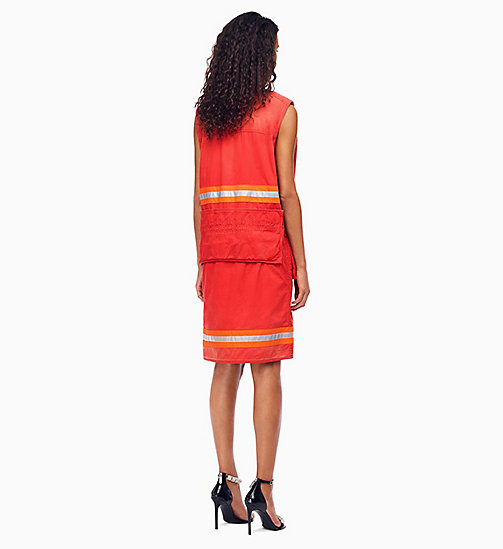 205W39NYC Distressed Sleeveless Fireman Dress - RED - 205W39NYC CLOTHES - detail image 1