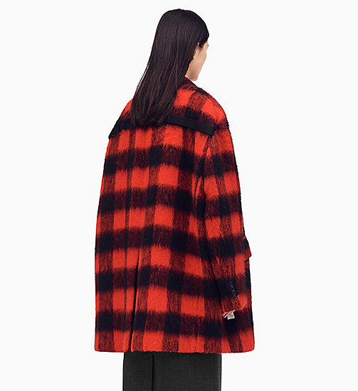 205W39NYC Oversized Coat in Buffalo Check - RED/ BLACK - 205W39NYC CLOTHES - detail image 1