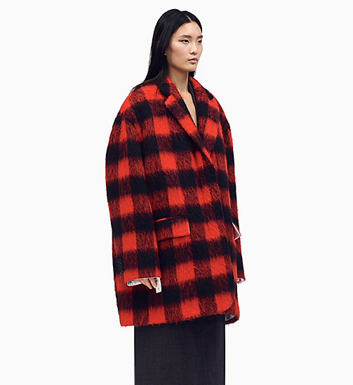 205W39NYC Oversized Coat in Buffalo Check - RED BLACK - 205W39NYC CLOTHES - main image