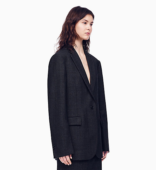 205W39NYC Boxy Blazer in Check Worsted Wool - GREY - 205W39NYC CLOTHES - main image