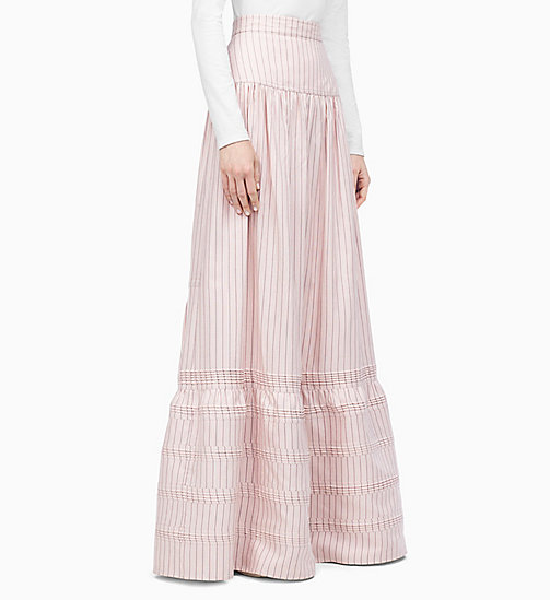 205W39NYC Striped Long Pioneer Skirt - WHITE RED BLACK - 205W39NYC CLOTHES - main image