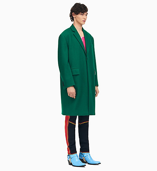 205W39NYC Single-Breasted Boxy Coat in Carded Wool - GREEN - 205W39NYC CLOTHES - main image