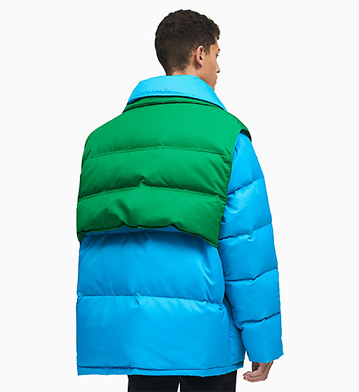 205W39NYC Colourblock Down Puffer Jacket - RIVIERA BLUE SPRING GREEN - 205W39NYC CLOTHES - detail image 1