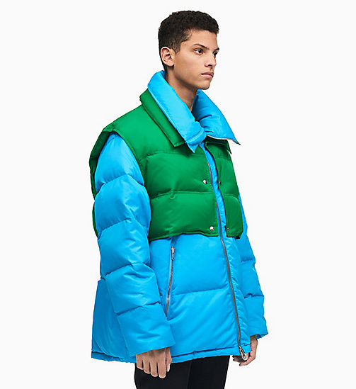 205W39NYC Colourblock Down Puffer Jacket - RIVIERA BLUE SPRING GREEN - 205W39NYC CLOTHES - main image