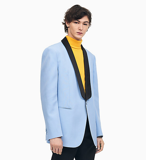 205W39NYC Boxy Tuxedo Jacket in Wool Gabardine - SHADOW BLUE BLACK - 205W39NYC CLOTHES - main image
