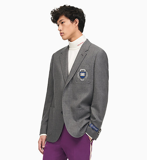 205W39NYC Boxy Varsity Jacket in Flannel Wool - GREY MELANGE - 205W39NYC CLOTHES - main image