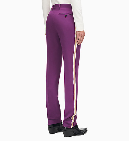 205W39NYC Straight Leg Uniform Stripe Trousers - BRIGHT PURPLE OPTIC WHITE ECRU - 205W39NYC CLOTHES - detail image 1