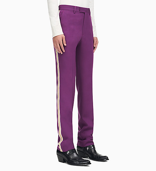 205W39NYC Straight Leg Uniform Stripe Trousers - BRIGHT PURPLE OPTIC WHITE ECRU - 205W39NYC CLOTHES - main image