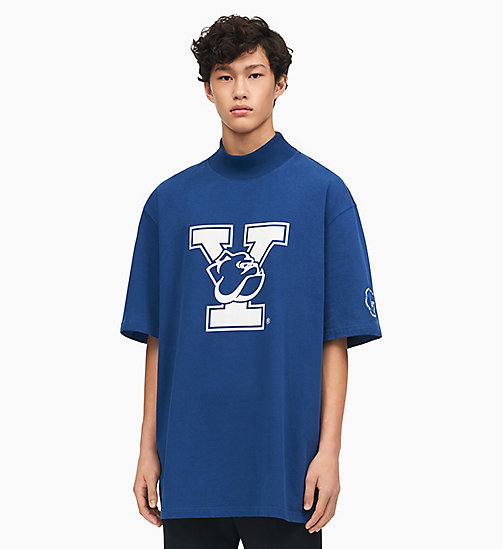 205W39NYC Yale Oversized Mock Neck T-Shirt - YALE BLUE - 205W39NYC CLOTHES - main image