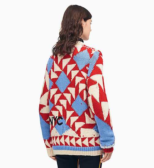 205W39NYC Pull en maille patchwork 205W39NYC - ECRU RED SHADOW BLUE - 205W39NYC VÊTEMENTS - image détaillée 1