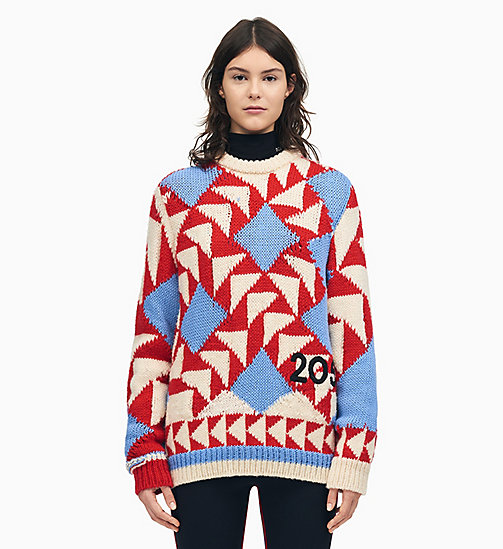205W39NYC Pull en maille patchwork 205W39NYC - ECRU RED SHADOW BLUE - 205W39NYC VÊTEMENTS - image principale
