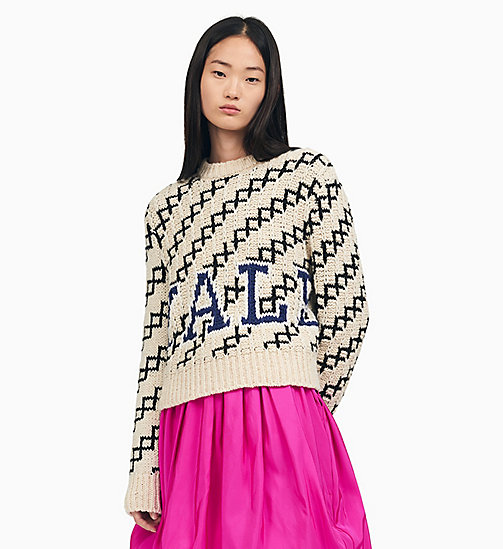 205W39NYC Cropped Strickpullover mit Yale-Design - ECRU BLACK NAVY WHITE - 205W39NYC KLEIDUNG - main image