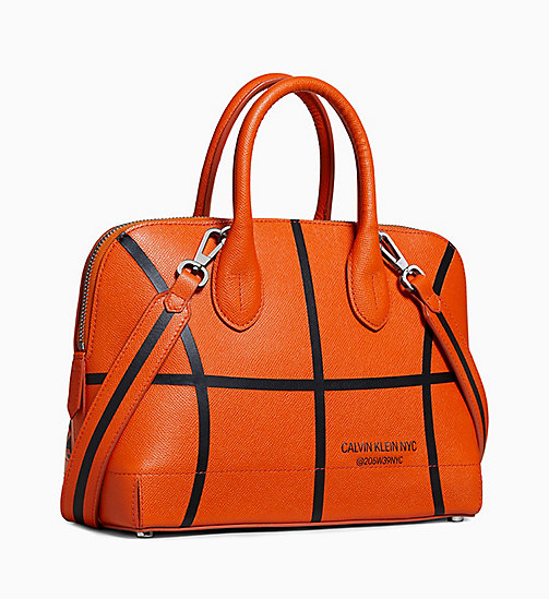 205W39NYC Small Basketball Satchel in Leather - BURNT ORANGE - 205W39NYC SHOES & ACCESSORIES - detail image 1