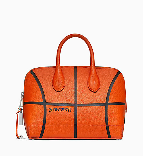 205W39NYC Small Basketball Satchel in Leather - BURNT ORANGE - 205W39NYC SHOES & ACCESSORIES - main image