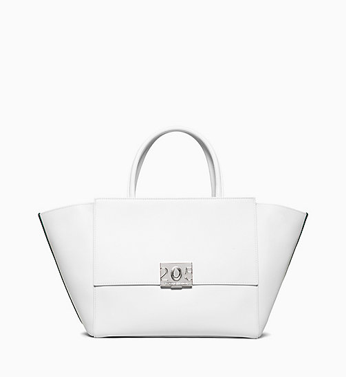 205W39NYC Large Shopper Tote Bag in Calf Leather - OPTIC WHITE - 205W39NYC SHOES & ACCESSORIES - main image