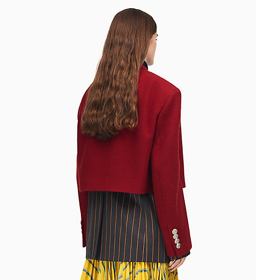 205W39NYC Oversized Single-Breasted Cropped Coat - CLARET - 205W39NYC CLOTHES - detail image 1