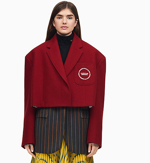 205W39NYC Oversized Single-Breasted Cropped Coat - CLARET - 205W39NYC CLOTHES - main image