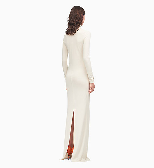 205W39NYC Turtleneck Long Dress in Wool Jersey - CREAM - 205W39NYC CLOTHES - detail image 1