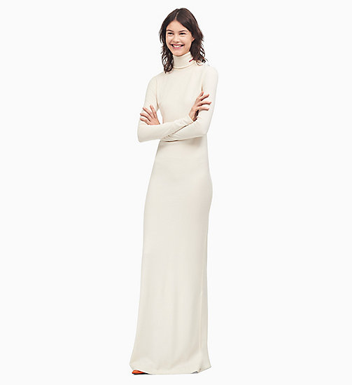 205W39NYC Turtleneck Long Dress in Wool Jersey - CREAM - 205W39NYC CLOTHES - main image