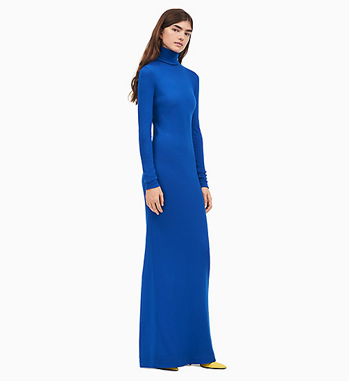 205W39NYC Turtleneck Long Dress in Wool Jersey - BRIGHT BLUE - 205W39NYC CLOTHES - main image