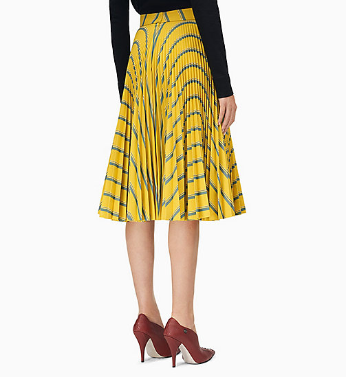 205W39NYC Soleil Pleated Skirt in Heavy Twill - CITRON SAPHIR WHITE BLACK - 205W39NYC CLOTHES - detail image 1