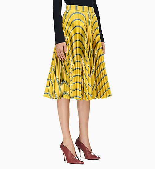 205W39NYC Soleil Pleated Skirt in Heavy Twill - CITRON SAPHIR WHITE BLACK - 205W39NYC CLOTHES - main image