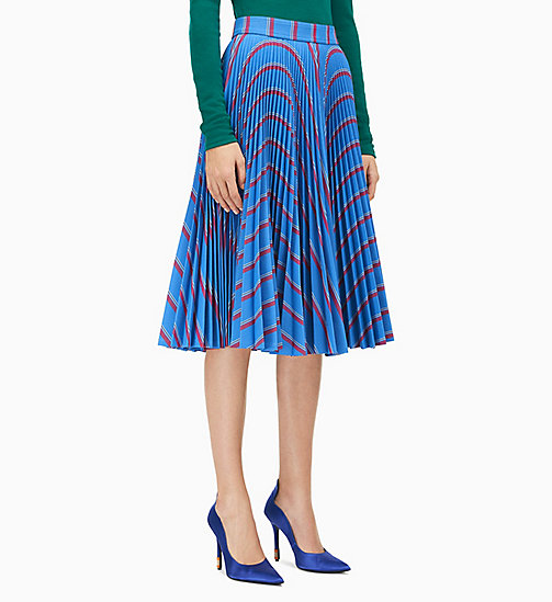 205W39NYC Soleil Pleated Skirt in Heavy Twill - BLEUET RED WHITE BLACK - 205W39NYC CLOTHES - main image