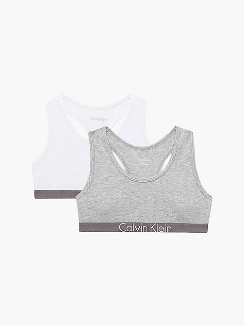 CALVIN KLEIN 2 Pack Girls Bralettes - Customized Stretch - 1 GREY HEATHER/ 1 WHITE - CALVIN KLEIN GIRLS - main image
