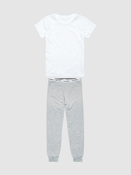 CALVINKLEIN Girls PJ Set - Modern Cotton - WHITE/GREY HTR - CALVIN KLEIN PYJAMAS - detail image 1