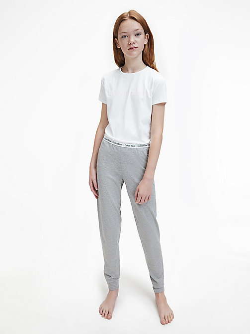 CALVIN KLEIN Girls PJ Set - Modern Cotton - WHITE/GREY HTR - CALVIN KLEIN GIRLS - main image